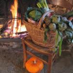 Panier garni et feu de cheminée