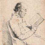 Charles de Gerville, assis dans un fauteuil lisant un livre