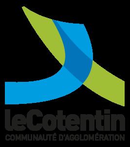 """Logo """"Le Cotentin Communauté d'Agglomération"""" de couleurs vert et bleu."""