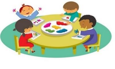 Dessin représentant 4 enfants faisant de la peinture avec leurs mains autour d'une table ronde