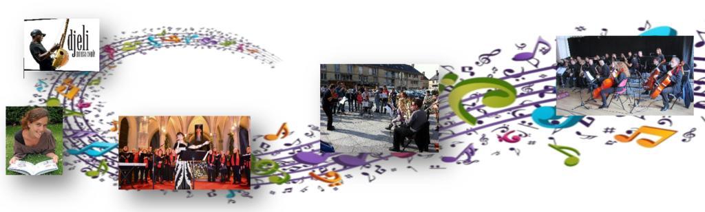 Plusieurs photos en lien avec l'activité de l'école de musique, alignées sur une portée avec une multitude de notes colorées