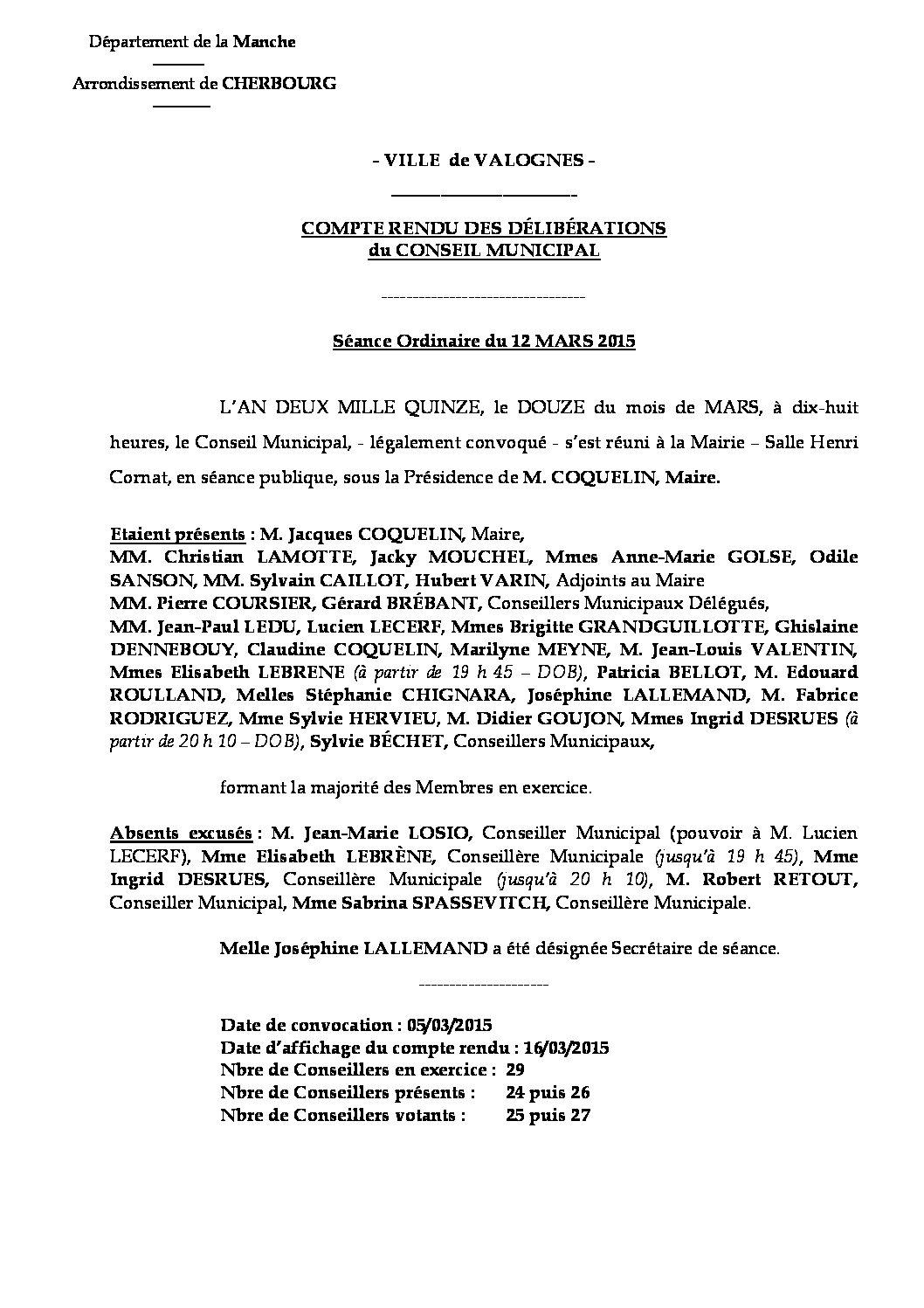 Extrait du registre des délibérations du 12-03-2015 - Compte rendu des délibérations du Conseil Municipal du 12 mars 2015.