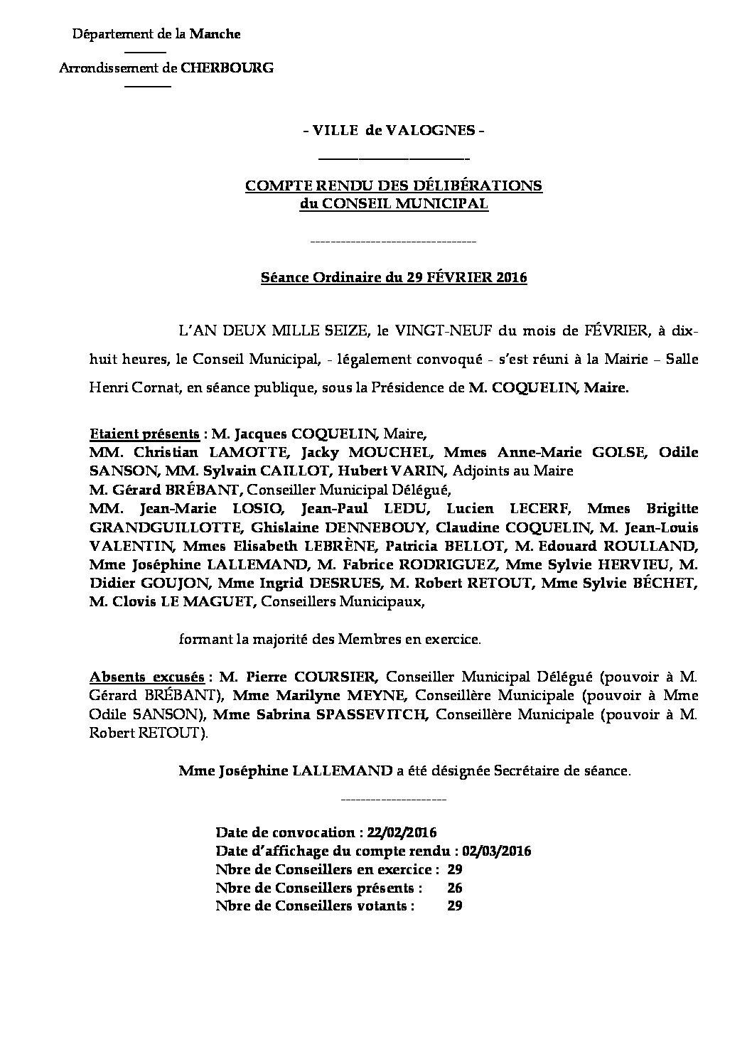 Extrait du registre des délibérations du 29-02-2016 - Compte rendu des questions soumises à délibération lors de la séance du Conseil Municipal du 29 février 2016