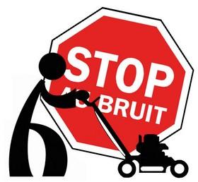 """Pictogramme personnage avec tondeuse à gazon devant un panneau rouge """"STOP AU BRUIT"""""""