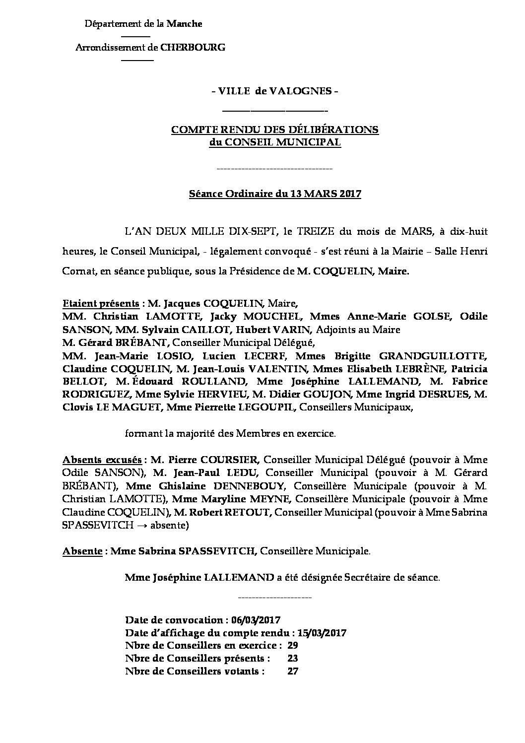 Extrait du registre des délibérations du 13-03-2017 - Compte rendu des questions soumises à délibération lors de la séance du 13 mars 2017.