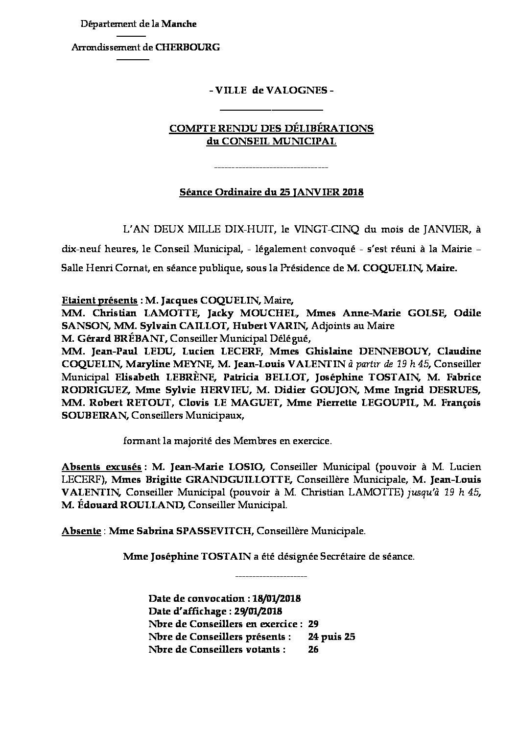 Extrait du registre des délibérations du 25-01-2018 - Compte rendu synthétique des délibérations du Conseil Municipal du 25 janvier 2018.