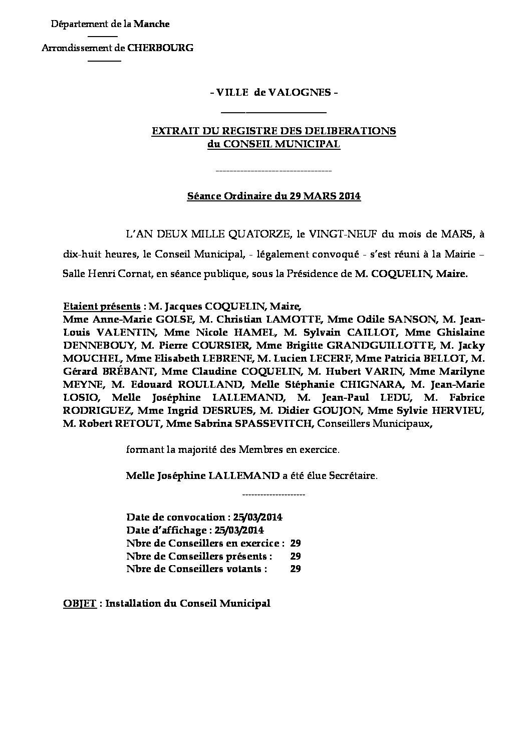 Extrait du registre des délibérations du 29-03-2014 - Extrait du registre des délibérations du Conseil Municipal du 29 mars 2014, relatif à l