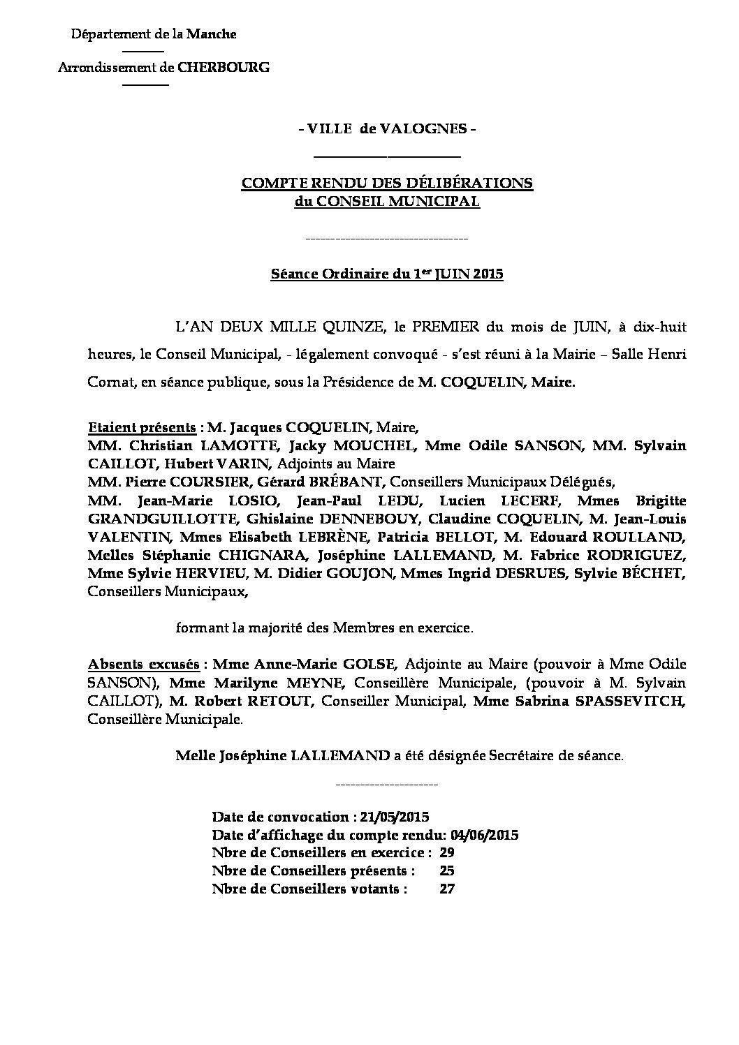 Extrait du registre des délibérations du 01-06-2015 - Compte-rendu des questions soumises à délibération lors de la séance du 1er juin 2015.