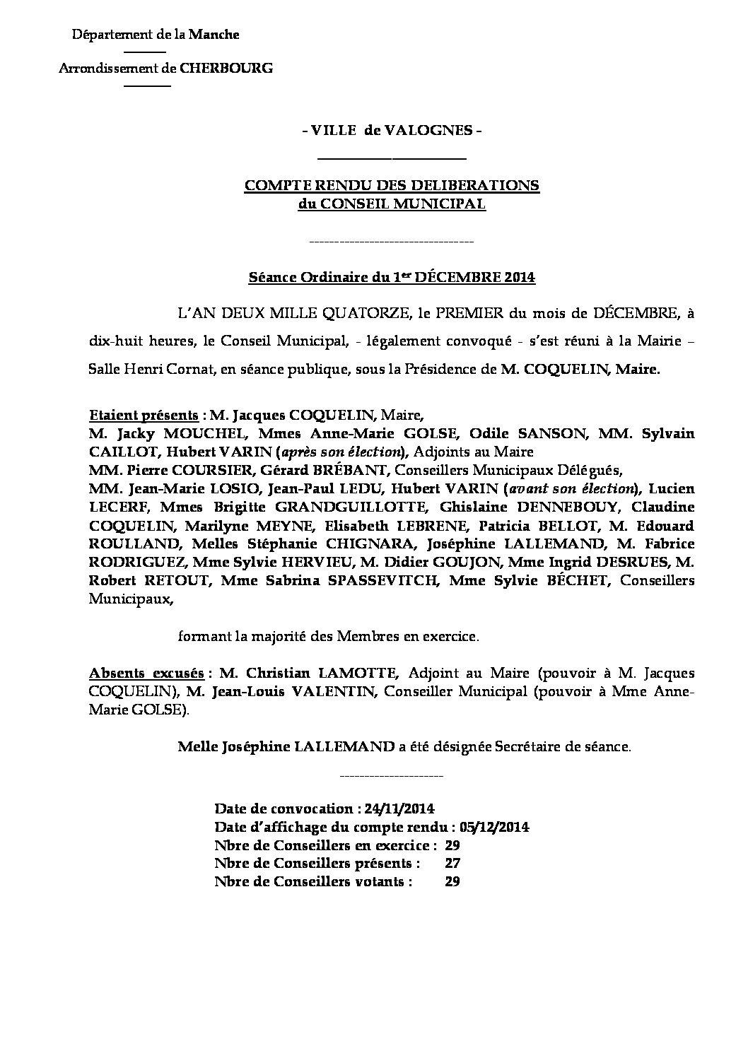 Extrait du registre des délibérations du 01-12-2014 - Compte rendu des questions soumises à délibérations lors de la séance du 1er décembre 2014.