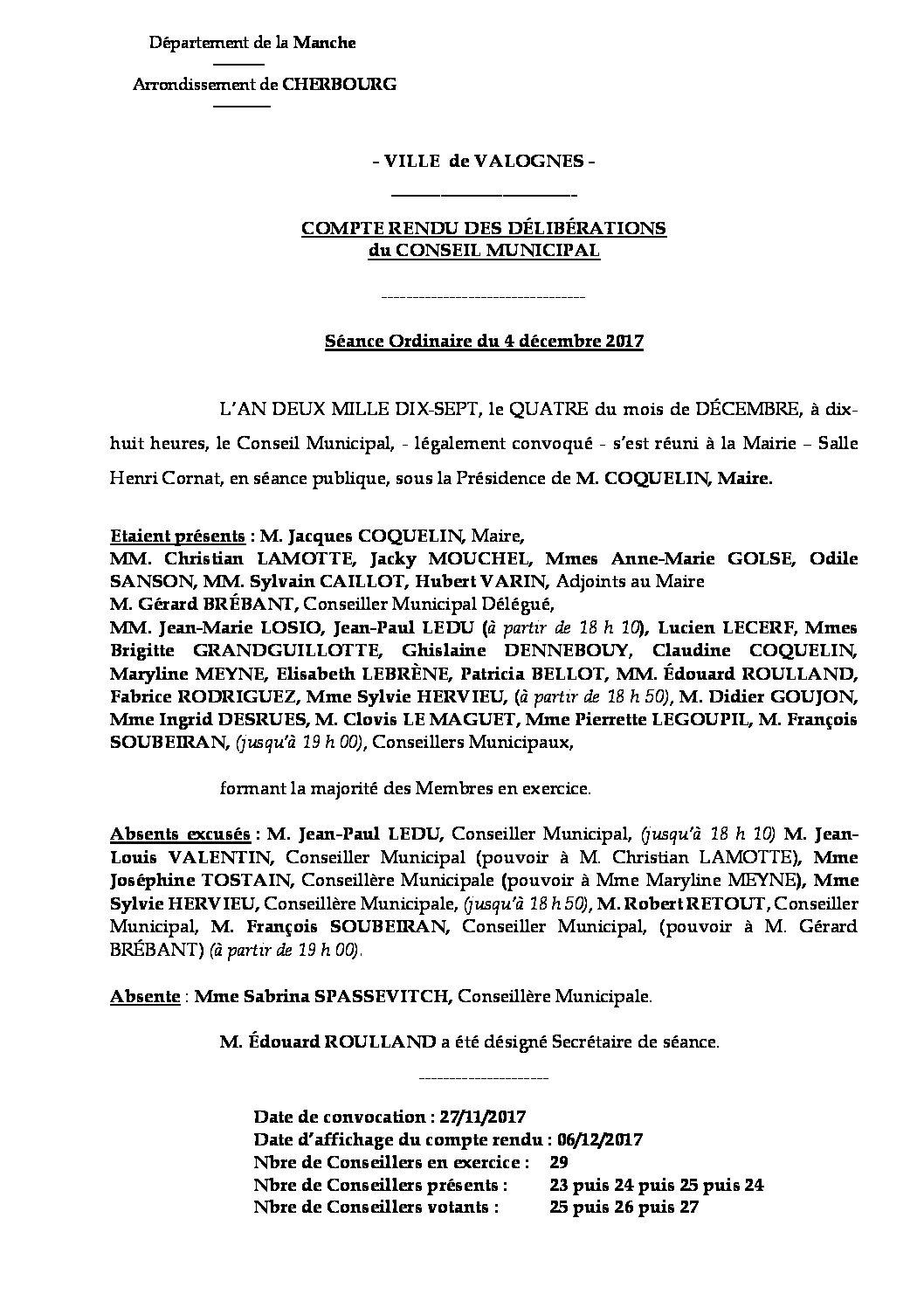 Extrait du registre des délibérations du 04-12-2017 - Compte-rendu synthétique des questions soumises à délibération lors de la séance du Conseil Municipal du 4 décembre 2017.