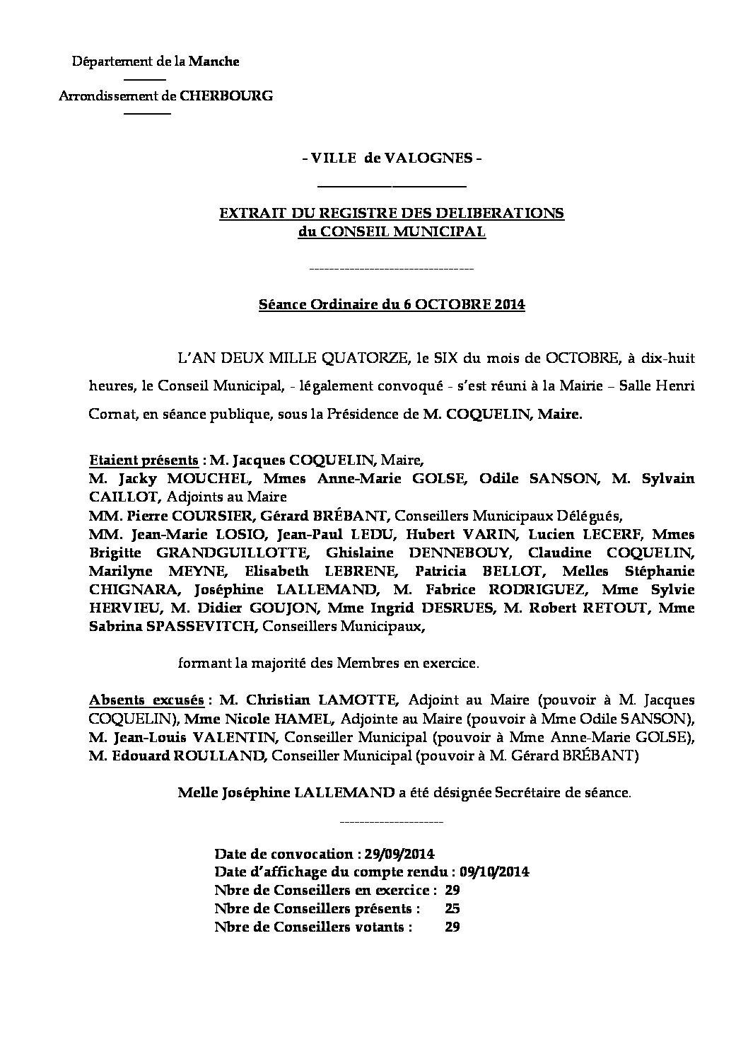 Extrait du registre des délibérations du 06-10-2014 - Compte rendu des questions soumises à délibération lors de la séance du 6 octobre 2014.
