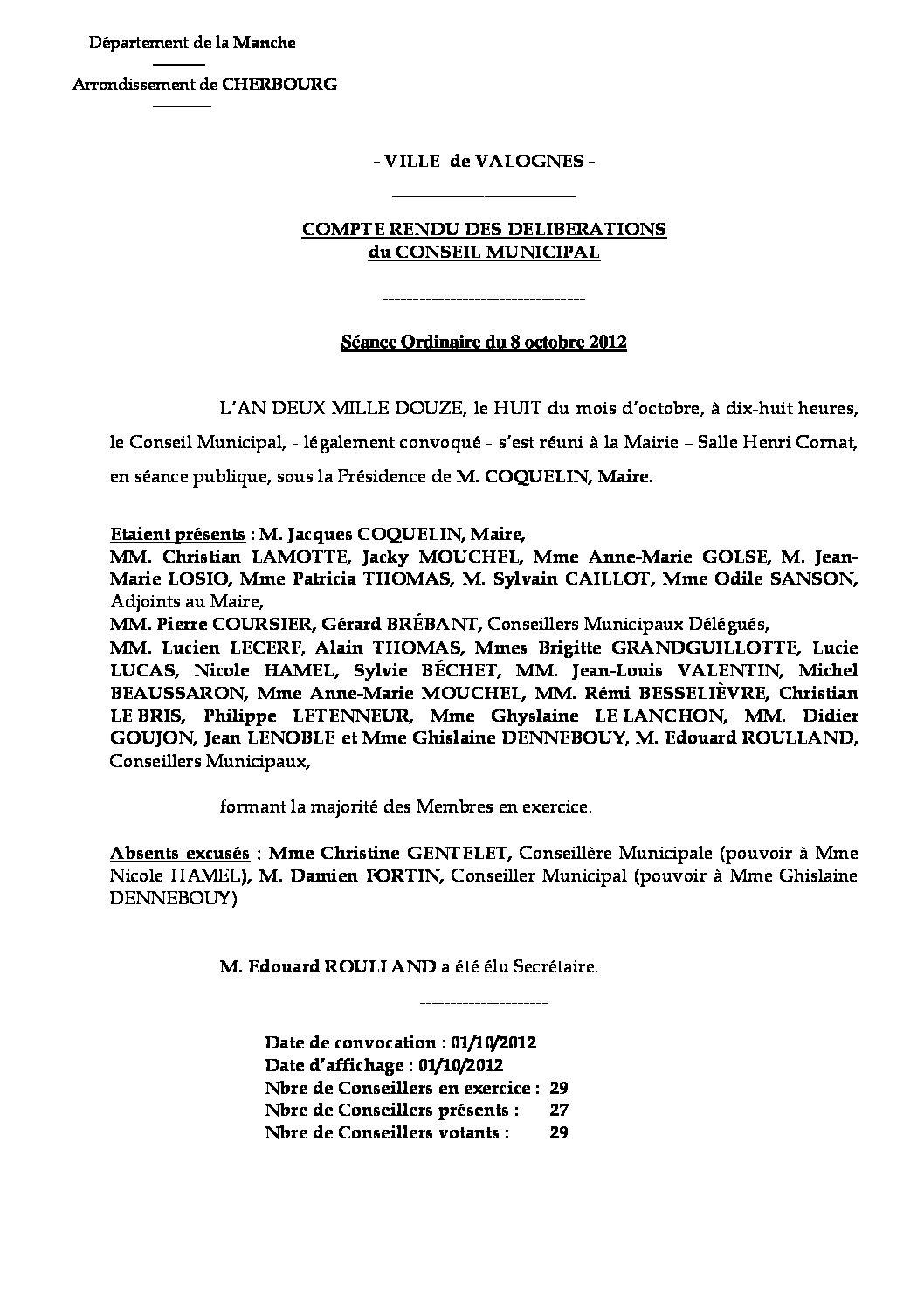 Extrait du registre des délibérations du 08-10-2012 - Compte-rendu des questions soumises à délibération lors de la séance du Conseil Municipal du lundi 8 octobre 2012.