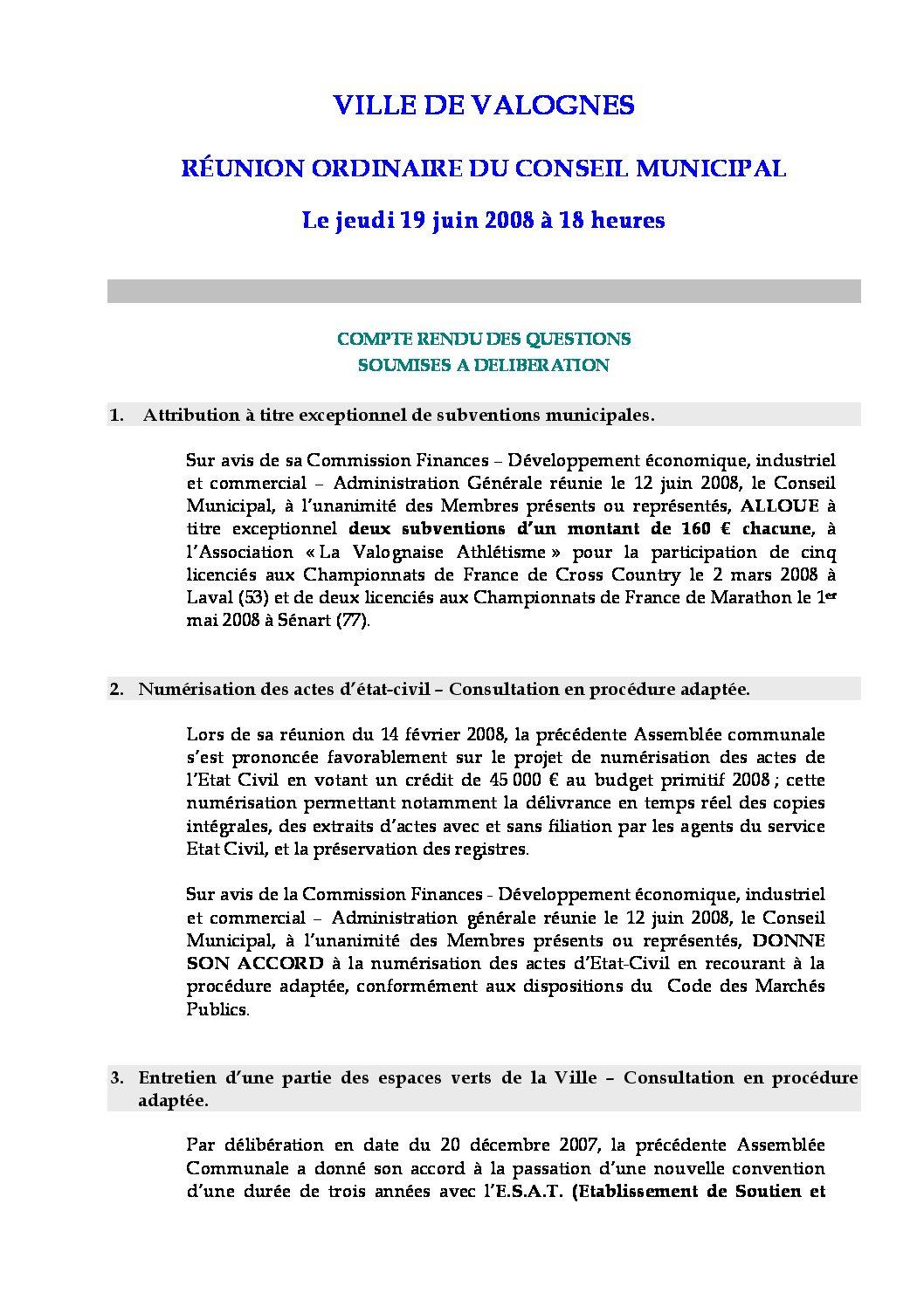 Extrait du registre des délibérations du 19-06-2008 - Compte rendu des questions soumises à délibération lors de la séance du Conseil Municipal du 19 juin 2008.