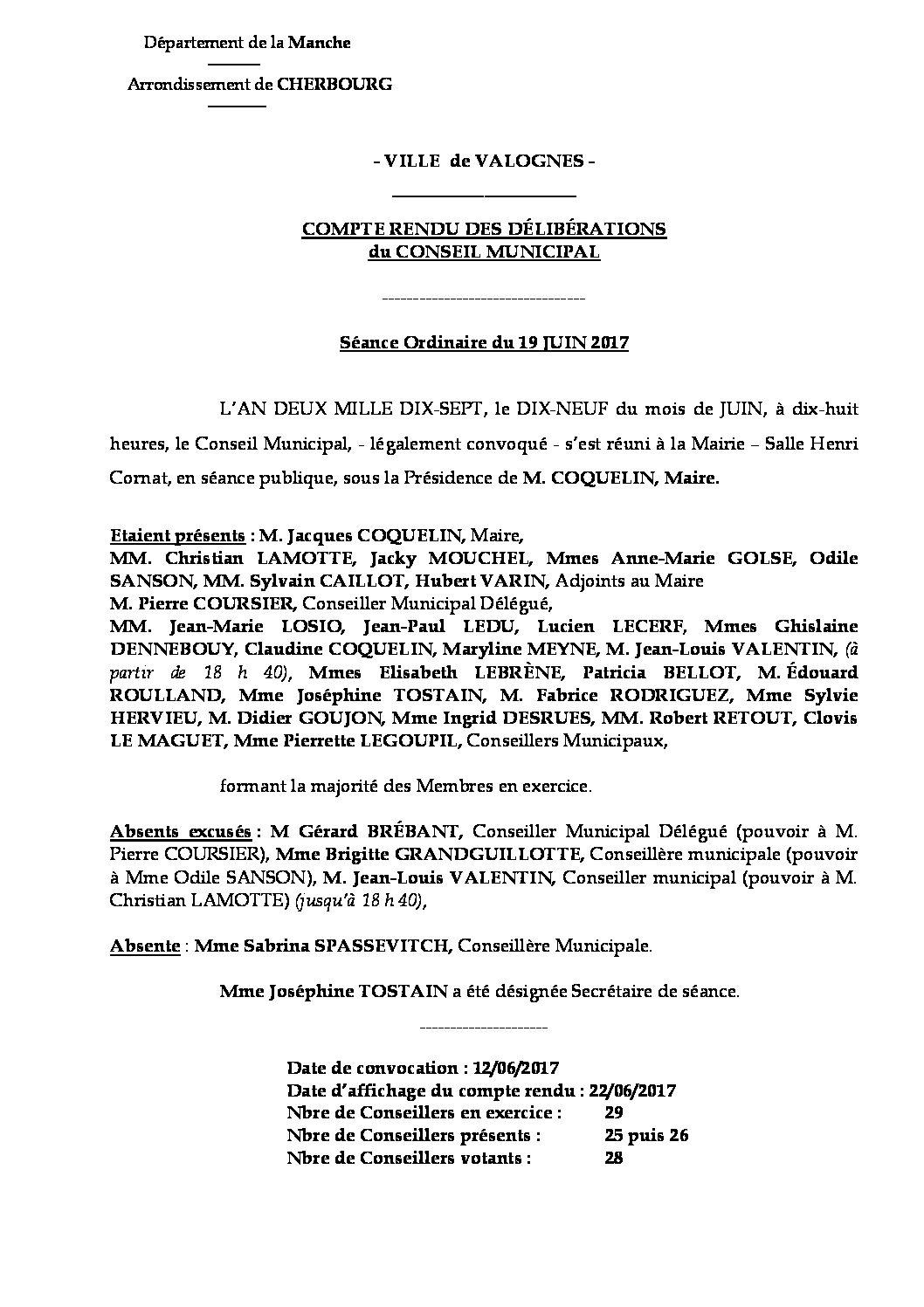 Extrait du registre des délibérations du 19-06-2017 - Compte-rendu synthétique des questions soumises à délibération lors de la séance du Conseil Municipal du 19 juin 2017.