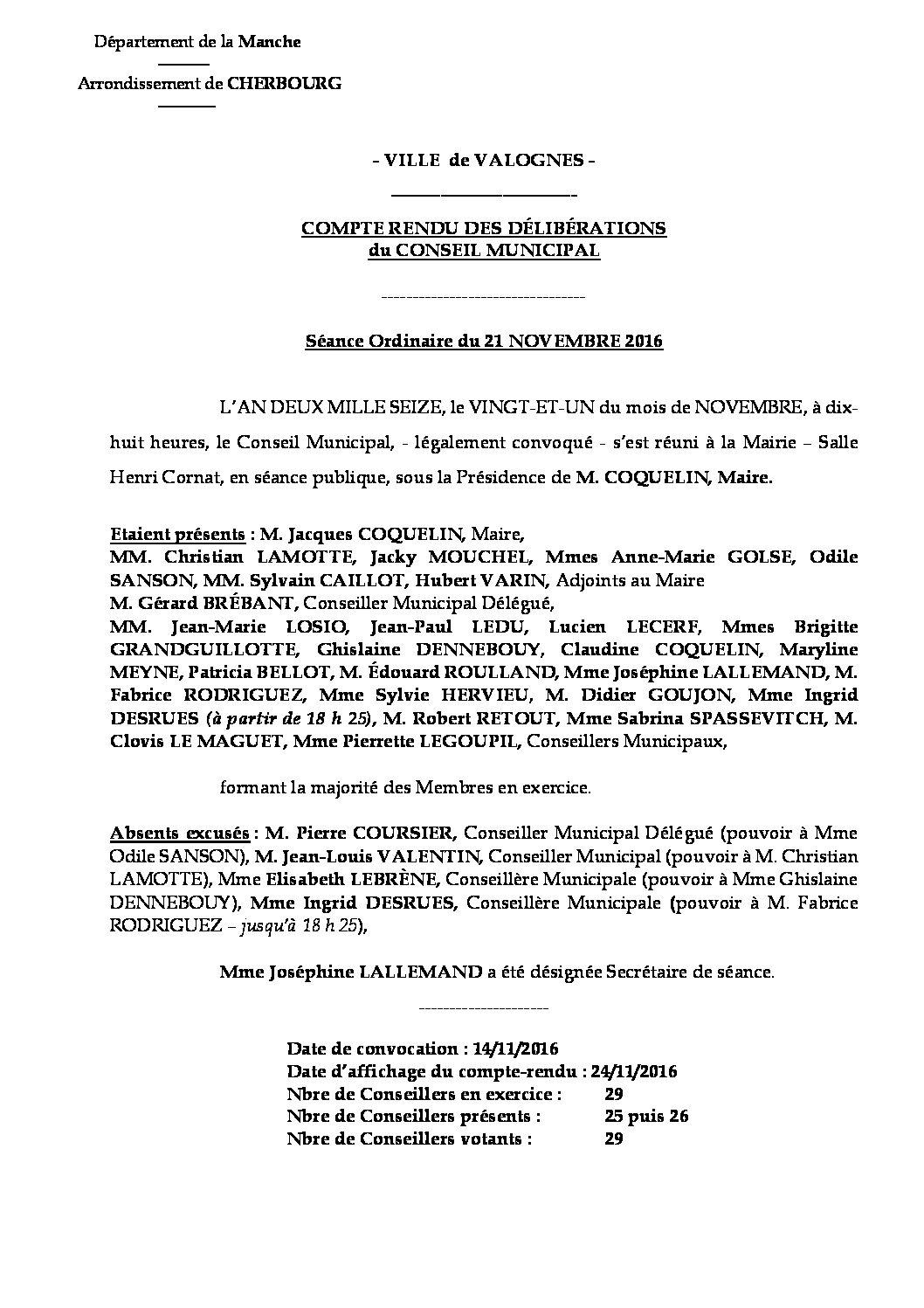 Extrait du registre des délibérations du 21-11-2016 - Compte rendu des questions soumises à délibération lors de la séance du Conseil Municipal du 21 novembre 2016.