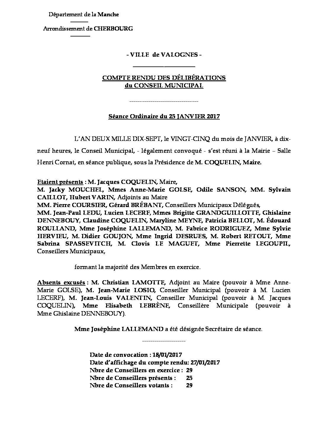 Extrait du registre des délibérations du 25-01-2017 - Compte rendu des questions soumises à délibération lors de la séance du mercredi 25 janvier 2017.