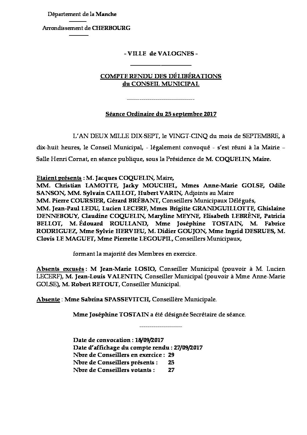 Extrait du registre des délibérations du 25-09-2017 - Compte rendu synthétique des questions soumises à délibération lors de la séance du Conseil Municipal du 25 septembre 2017.