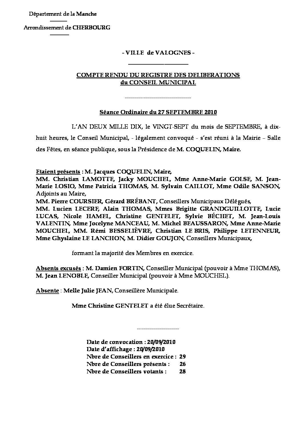 Extrait du registre des délibérations du 27-09-2010 - Compte rendu des questions soumises à délibération lors de la séance du lundi 27 septembre 2010.