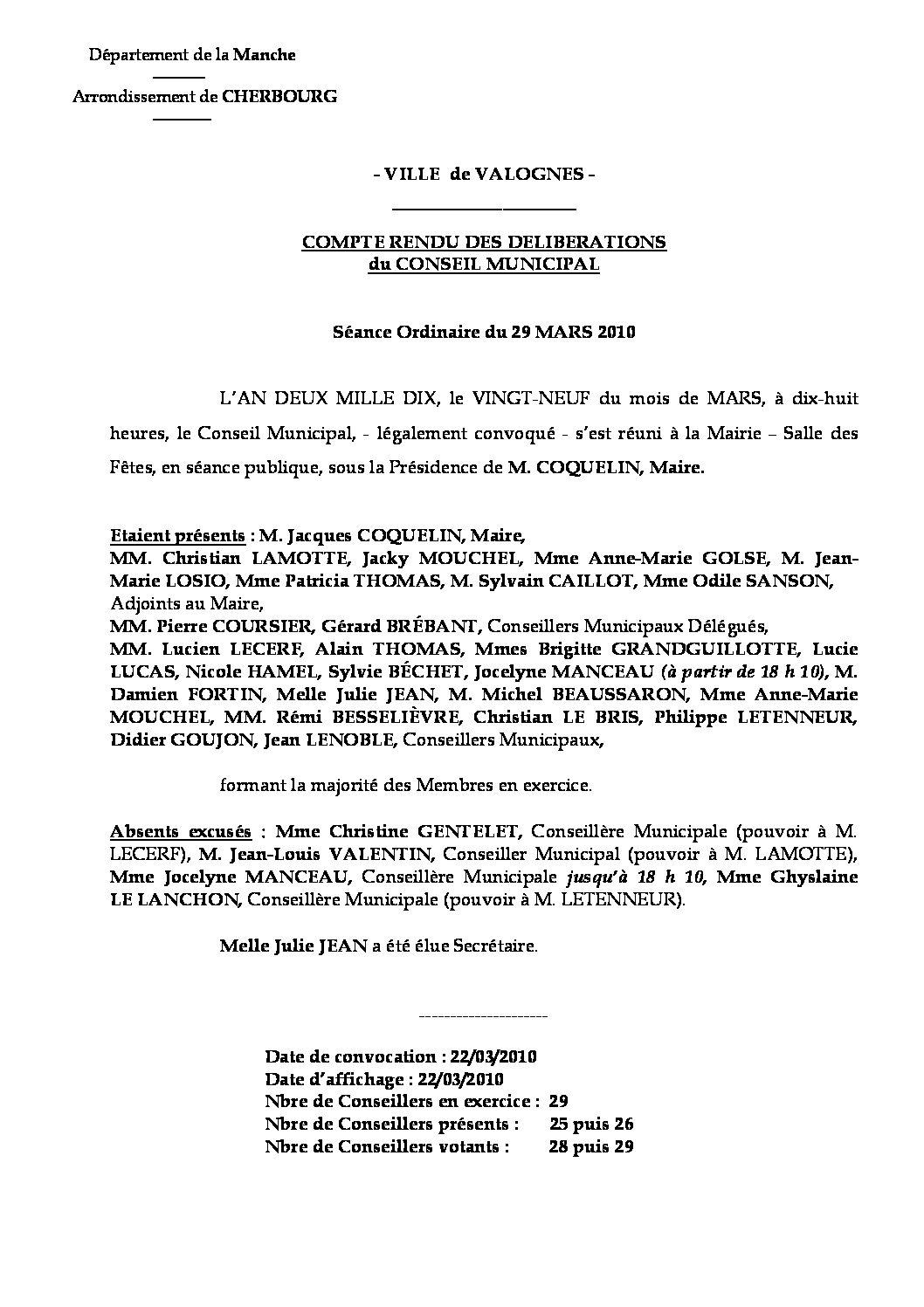 Extrait du registre des délibérations du 29-03-2010 - Compte-rendu des questions soumises à délibération lors de la séance du Conseil Municipal du 29 mars 2010.