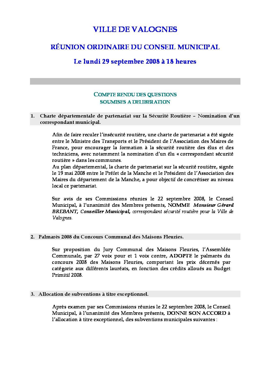 Extrait du registre des délibérations du 29-09-2008 - Compte rendu des questions soumises à délibération lors de la séance du Conseil Municipal du 29 septembre 2008.