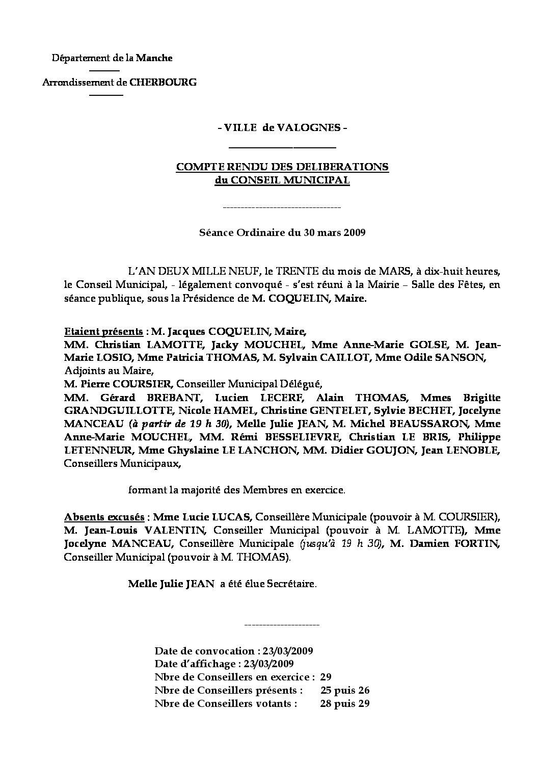 Extrait du registre des délibérations du 30-03-2009 - Compte rendu des questions soumises à délibération lors de la séance du Conseil Municipal du 30 mars 2009.