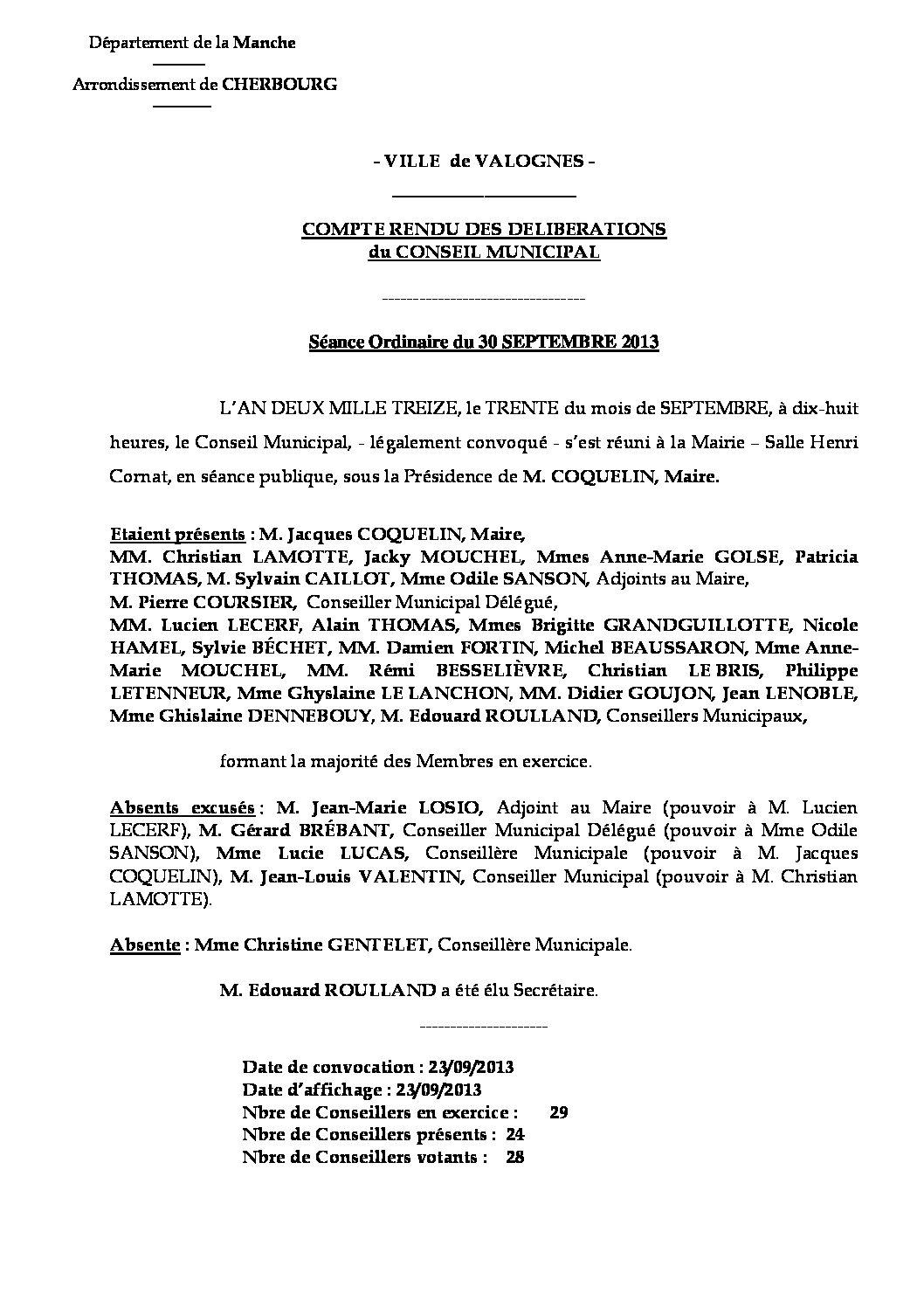 Extrait du registre des délibérations du 30-09-2013 - Compte rendu des questions soumises à délibération lors de la séance du Conseil Municipal du 16 décembre 2013.