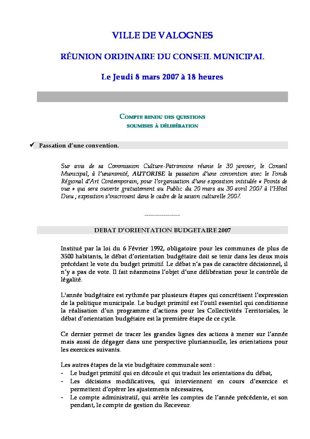 Extrait du registre des délibérations du 08-03-2007 - Compte rendu des questions soumises à délibération lors de la séance du Conseil Municipal du 8 mars 2007.