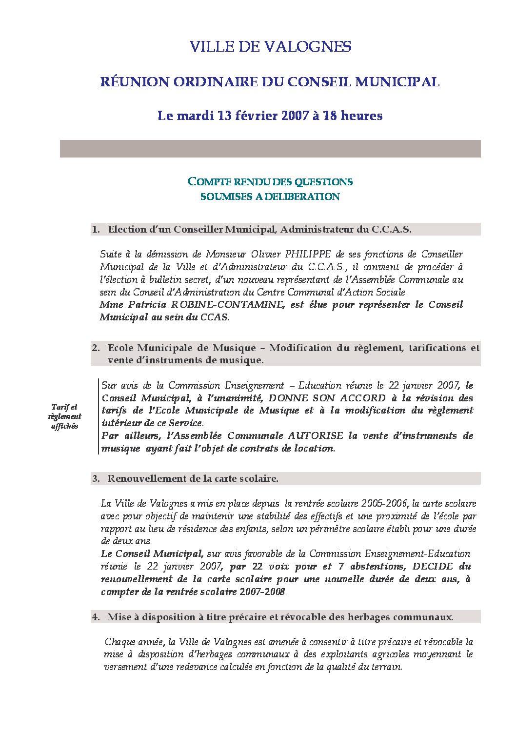 Extrait du registre des délibérations du Conseil Municipal du 13-02-2007