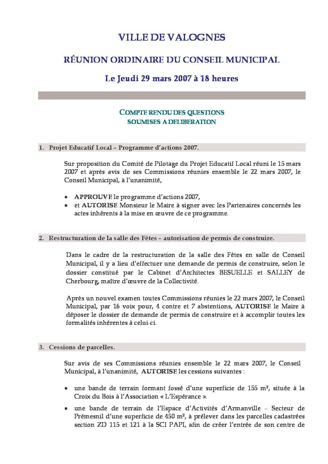 Extrait du registre des délibérations du 29-03-2007 - Compte rendu des questions soumises à délibération lors de la séance du Conseil Municipal du 29 mars 2007.