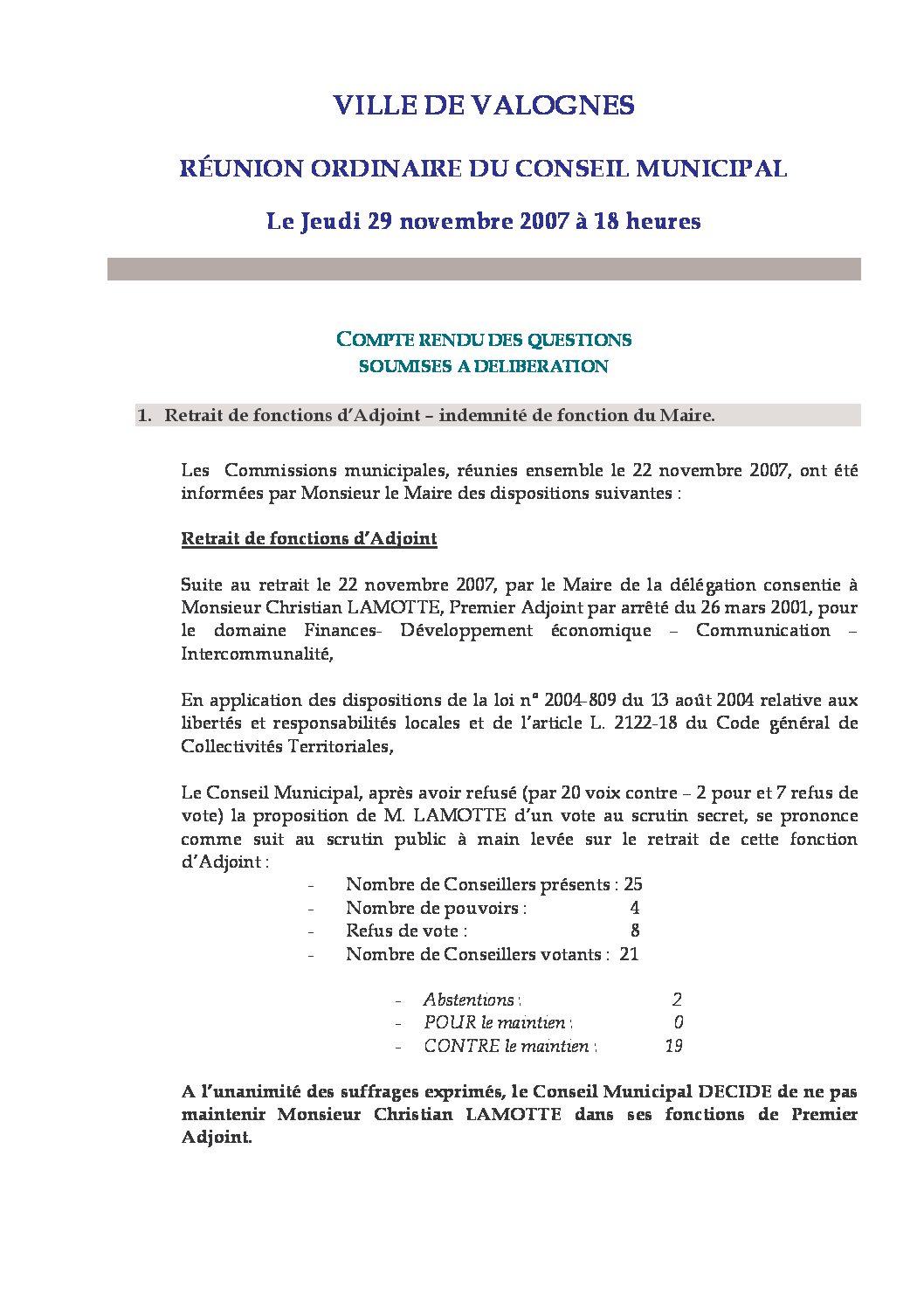 Extrait du registre des délibérations du 29-11-2007 - Compte rendu des questions soumises à délibération lors de la séance du Conseil Municipal du 29 novembre 2007.