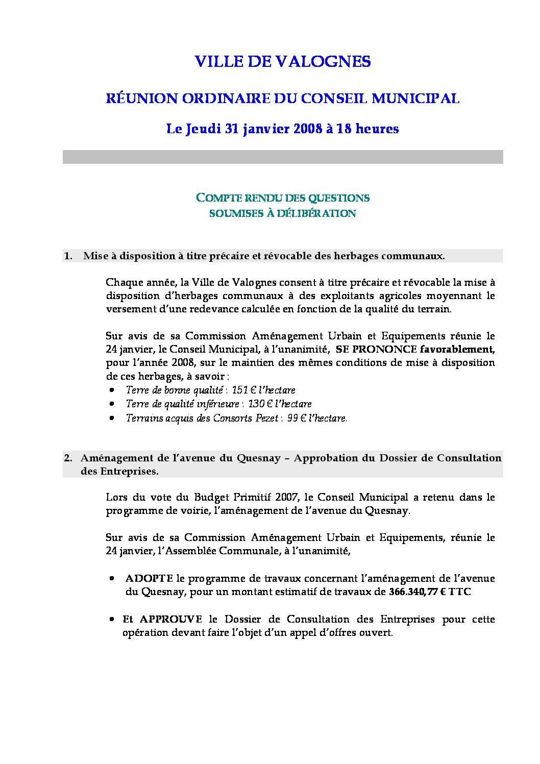 Extrait du registre des délibérations du 31-01-2008 - Compte rendu des questions soumises à délibération lors de la séance du Conseil Municipal du 31 janvier 2008.