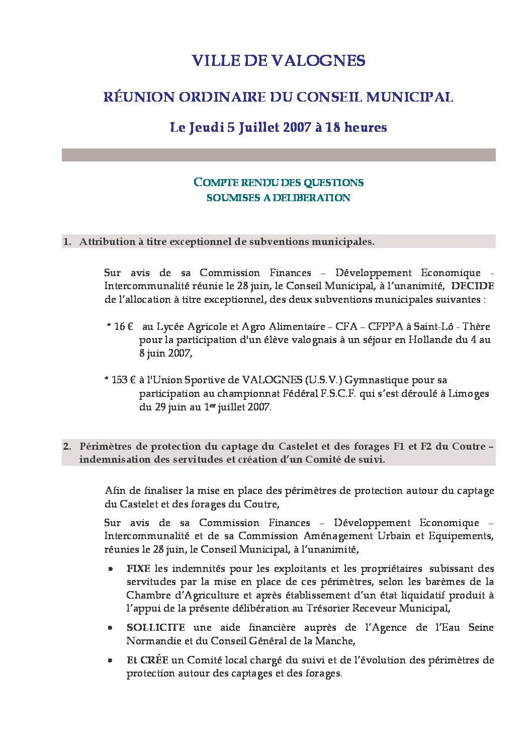 Extrait du registre des délibérations du 05-07-2007 - Compte rendu des questions soumises à délibération lors de la séance du Conseil Municipal du 5 juillet 2007.