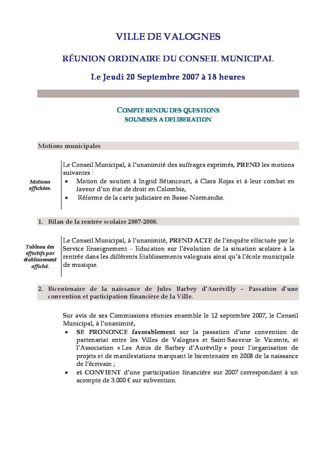 Extrait du registre des délibérations du 20-09-2007 - Compte rendu des questions soumises à délibération lors de la séance du Conseil Municipal du 20 septembre 2007.