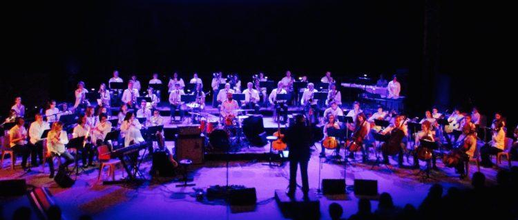 Vue d'ensemble d'un concert de l'harmonie de l'école de musique, dans une ambiance lumineuse mauve