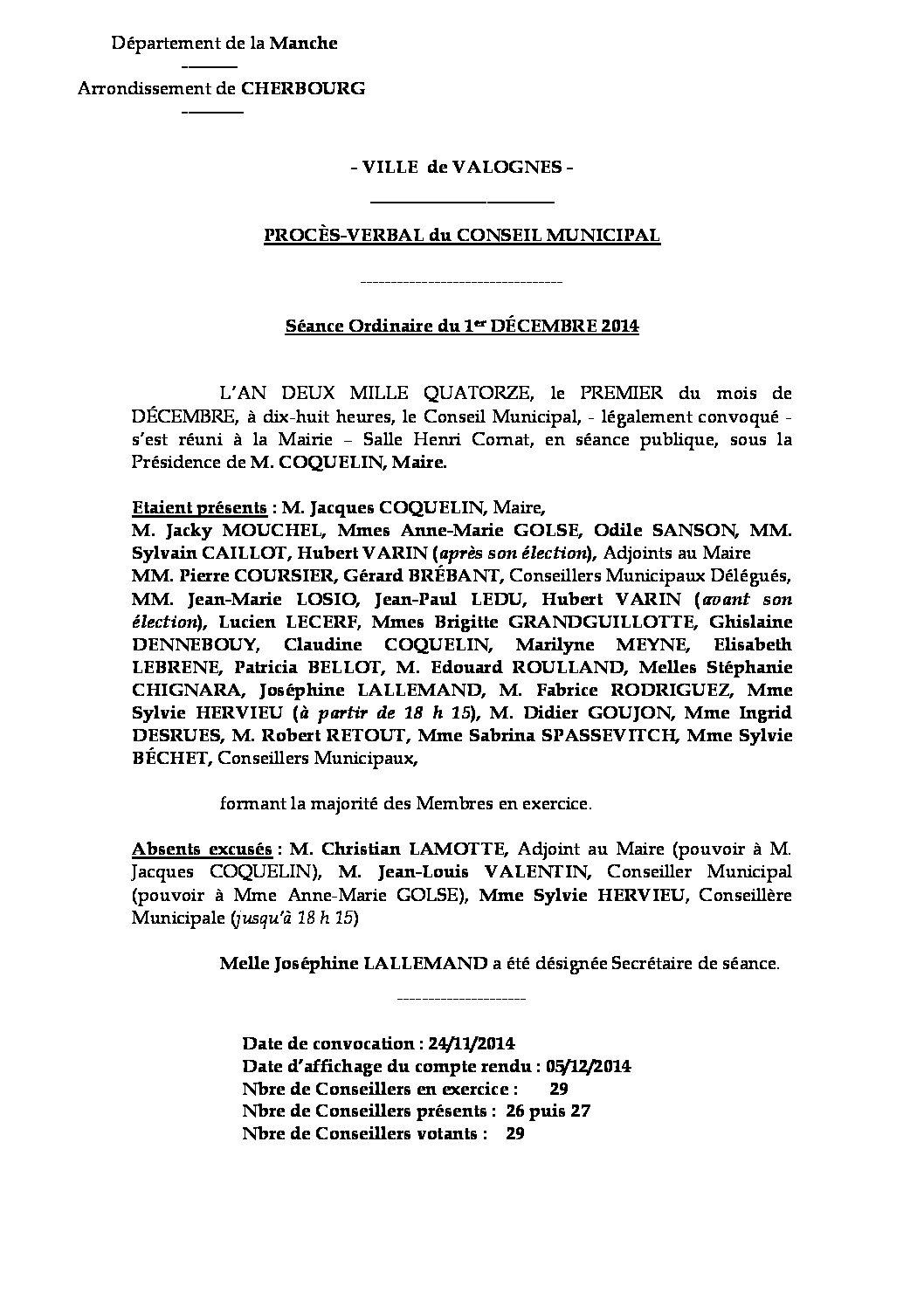 Procès-verbal du 01-12-2014 - Procès-verbal de la réunion du Conseil Municipal du 1er décembre 2014, approuvé lors de la séance du 19 janvier 2015