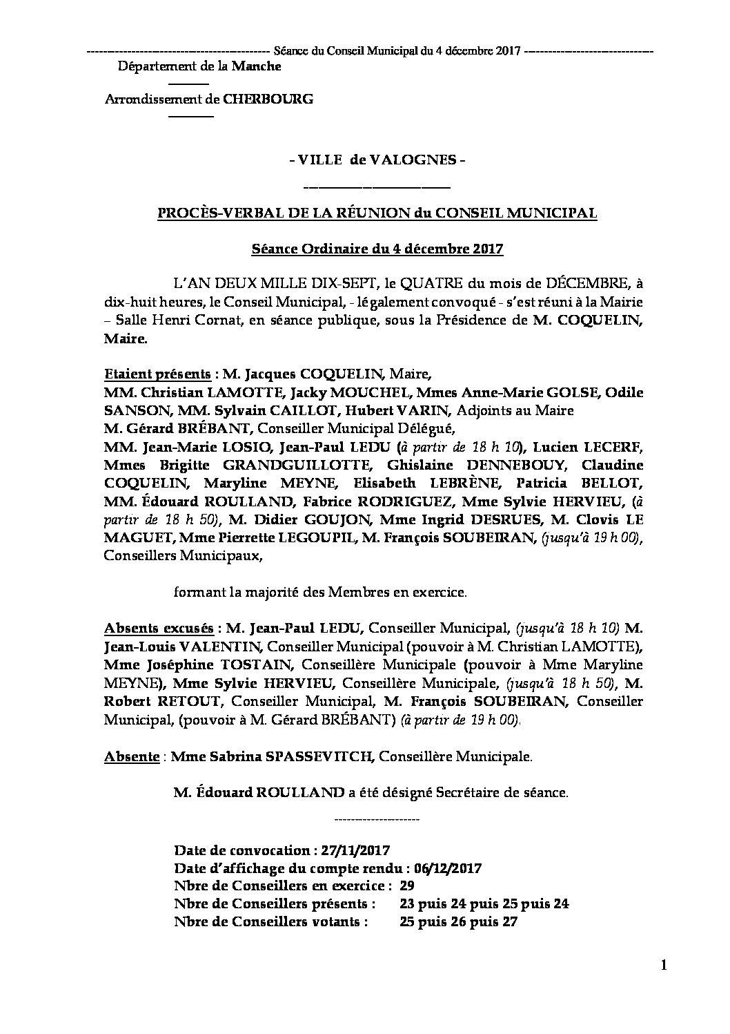 Procès-verbal du 04-12-2017 - Procès-verbal de la réunion du Conseil Municipal du 4 décembre 2017, approuvé à l
