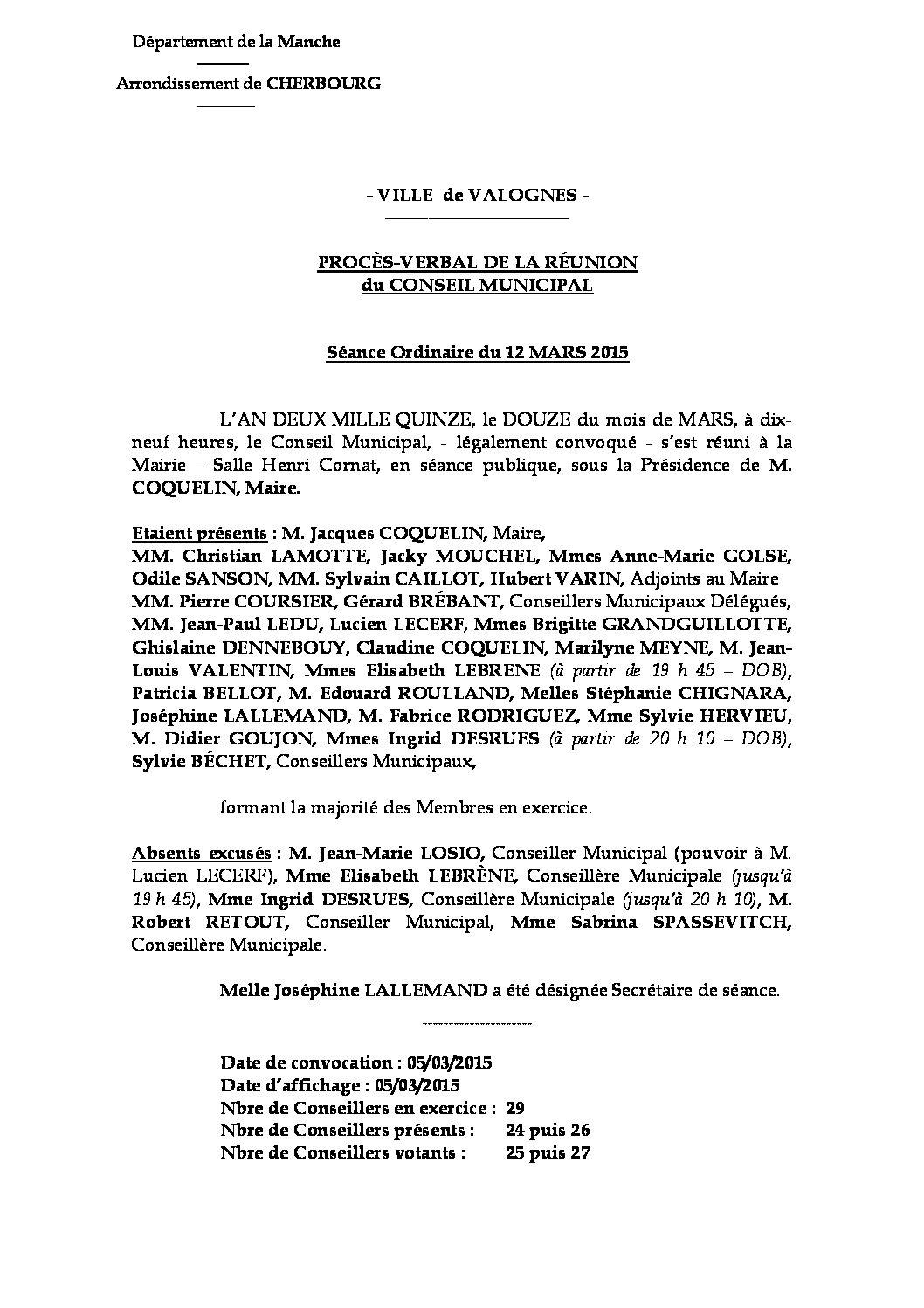 Procès-verbal du 12-03-2015 - Procès-verbal de la réunion du Conseil Municipal du 12 mars 2015, approuvé à l
