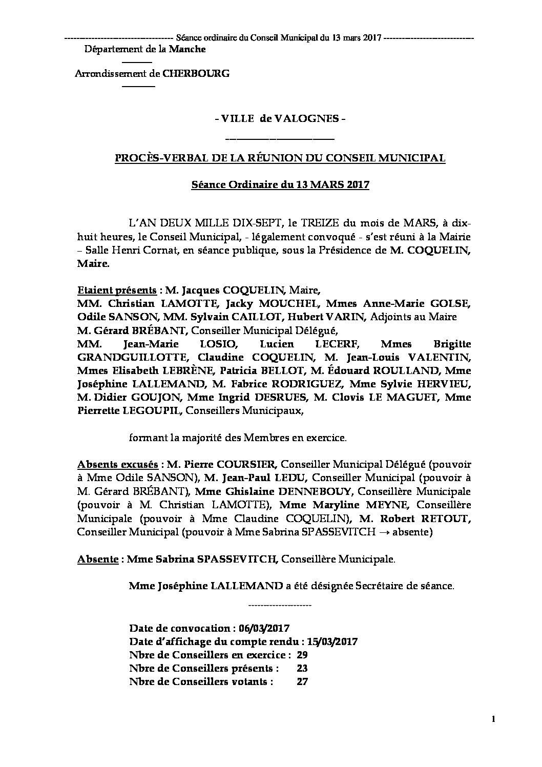 Procès-verbal du 13-03-2017 - Procès-verbal de la réunion du Conseil Municipal du 13 mars 2017, approuvé lors de la séance du 19 juin 2017.