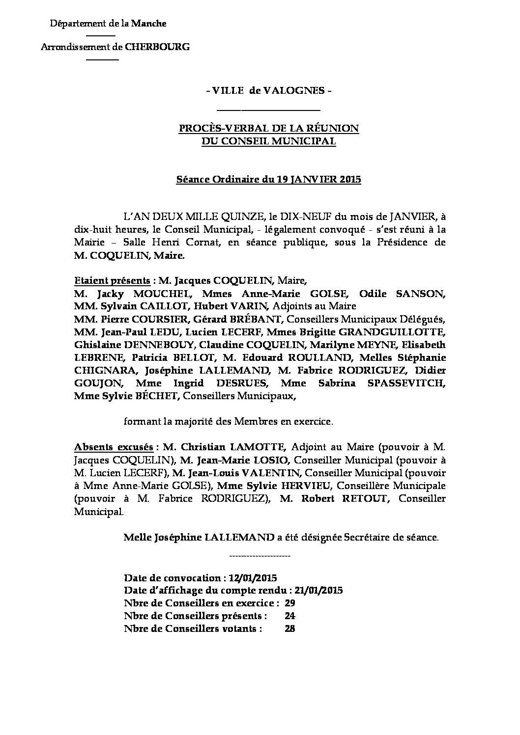 Procès-verbal du 19-01-2015 - Procès-verbal de la réunion du Conseil Municipal du 19 janvier 2015, approuvé à l