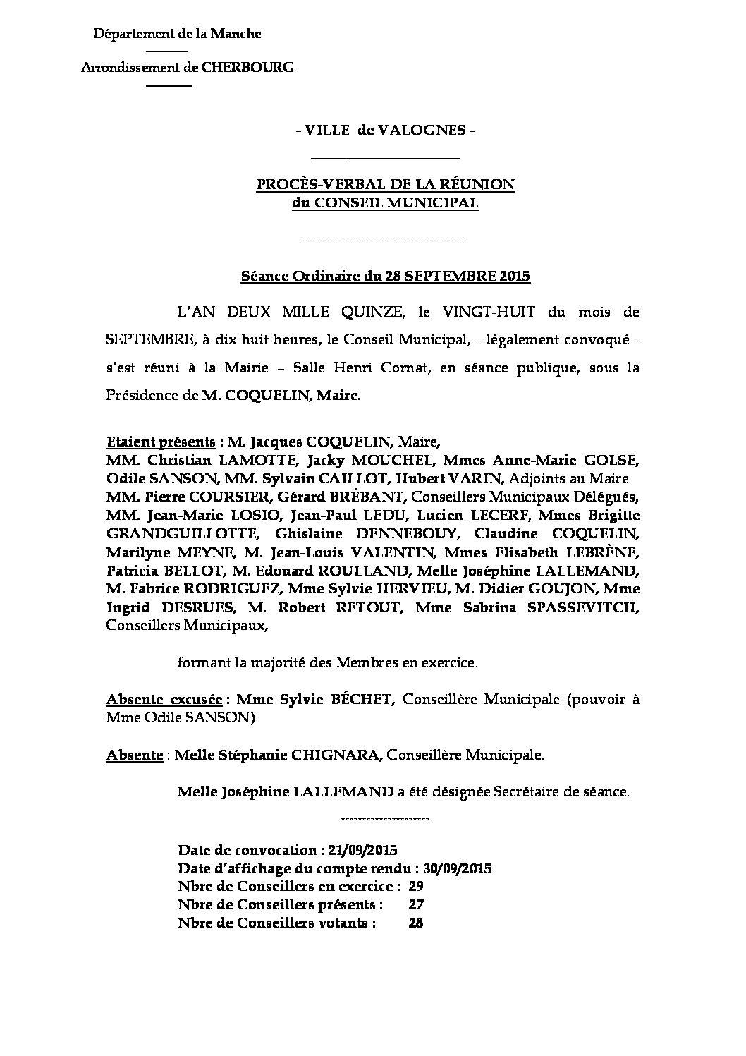 Procès-verbal du 28-09-2015 - Procès-verbal de la réunion du Conseil Municipal du 28 septembre 2015, approuvé lors de la séance du 30 novembre 2015