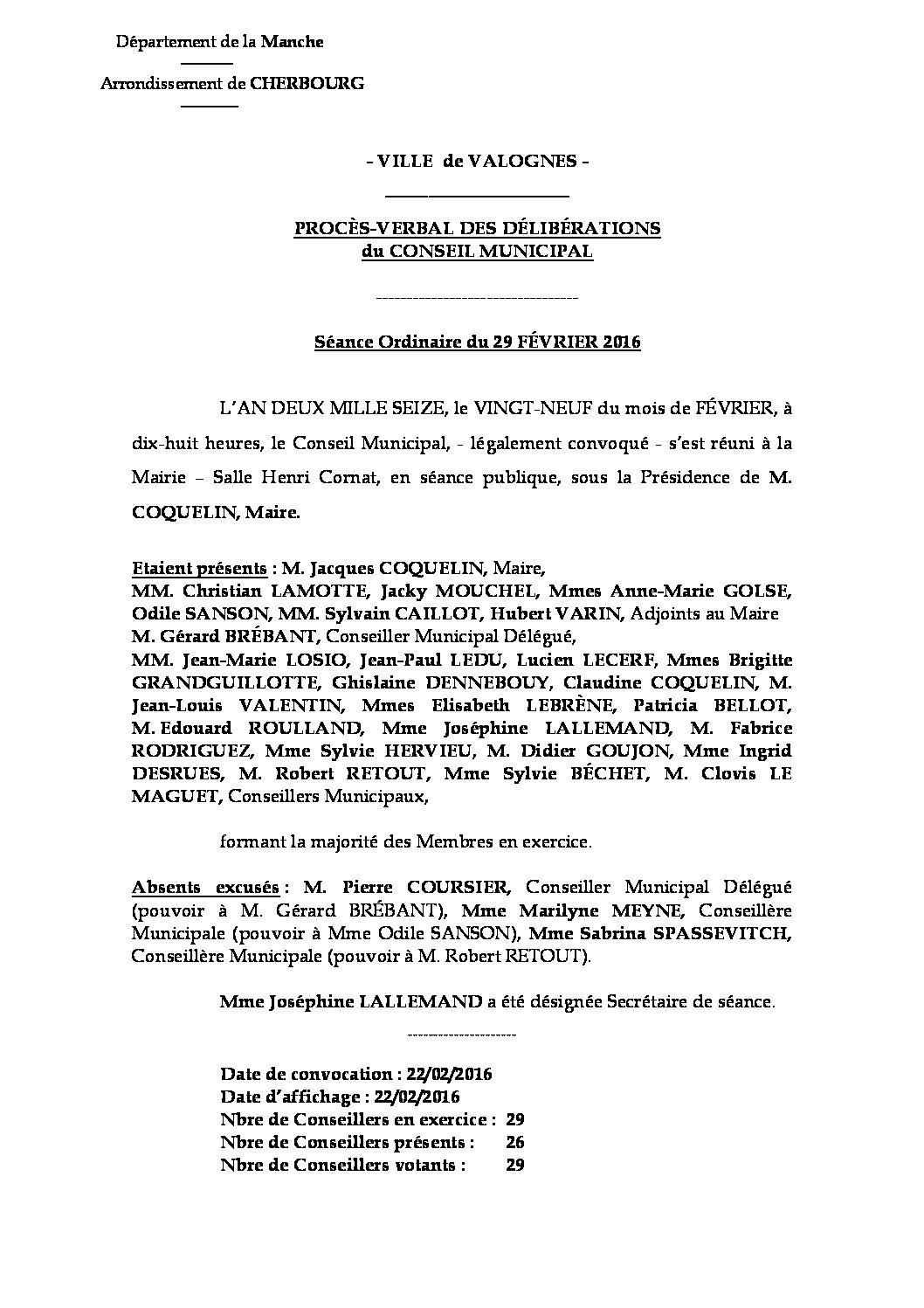 Procès-verbal du 29-02-2016 - procès-verbal de la réunion du Conseil Municipal du 29 février 2016, approuvé à l