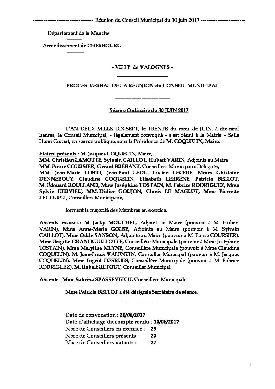 Procès-verbal du 30-06-2017 - Procès-verbal de la réunion du Conseil Municipal du 30 juin 2017, approuvé à l