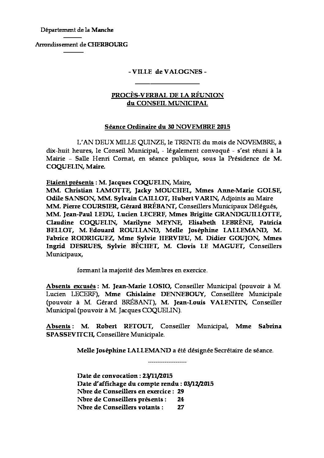 Procès-verbal du 30-11-2015 - Procès-verbal de la réunion du Conseil Municipal du 30 novembre 2015, approuvé à l
