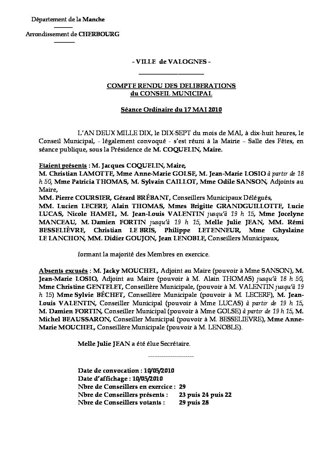 Extrait du registre des délibérations du 17-05-2010 - Compte-rendu des questions soumises à délibération lors de la séance du Conseil Municipal du 17 mai 2010