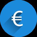Symbole euro blanc dans un rond bleu