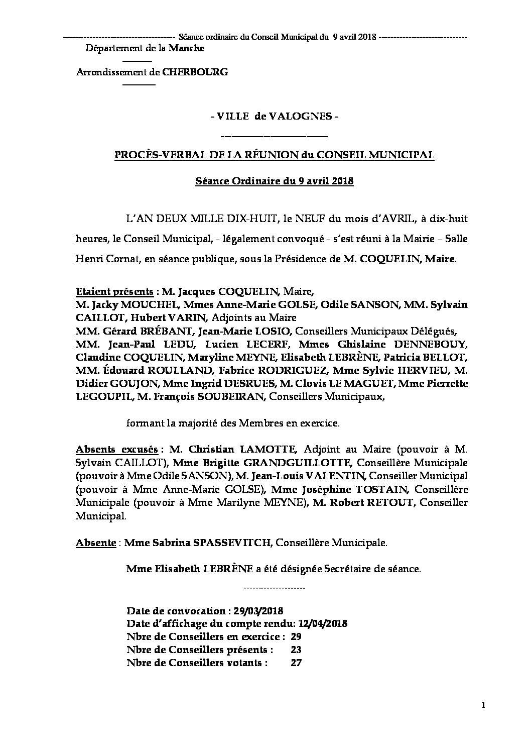 Procès-verbal de réunion - Procès-verbal de la réunion du 9 avril 2018, approuvé lors de la séance du 11 juin.