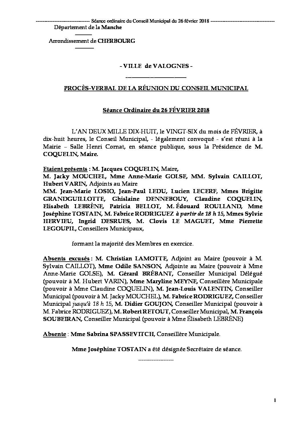 Procès-verbal de la séance du 26-02-2018 - Procès-verbal de la réunion du Conseil Municipal du 26 février 2018, approuvé lors de la séance du 9 avril 2018.