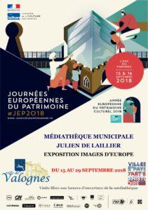 Affiche Journées du patrimoine 2018 Exposition médiathèque de Valognes