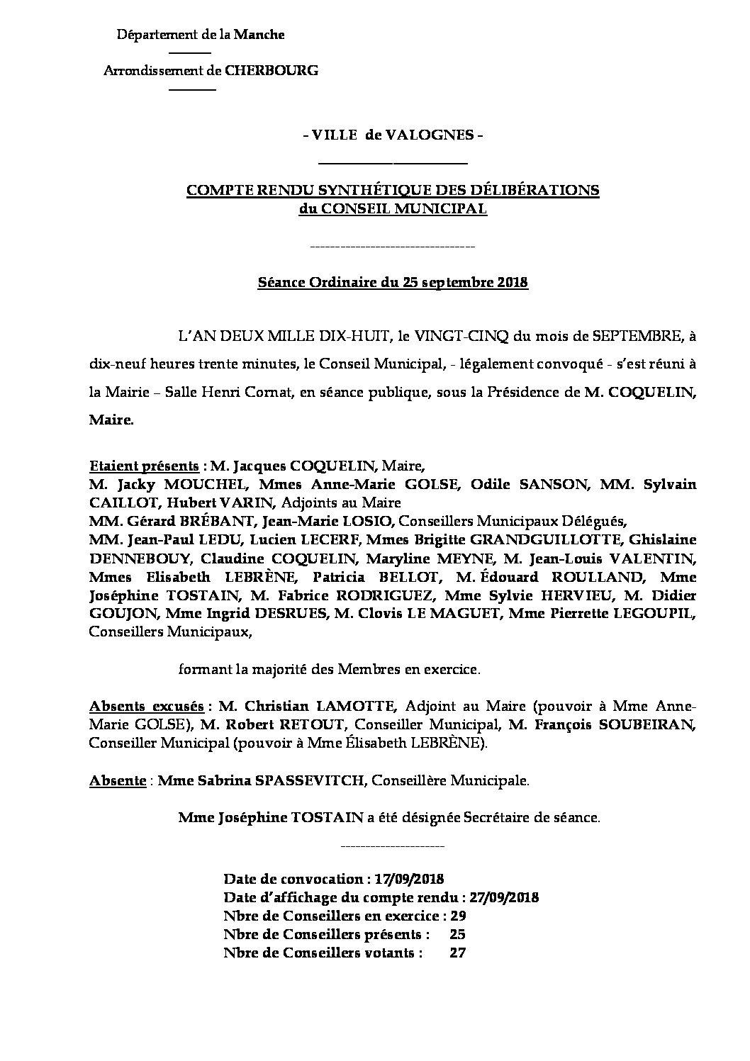 Compte rendu de Conseil Municipal - Compte rendu synthétique des questions soumises à délibération lors de la réunion du Conseil Municipal du 25 septembre 2018.