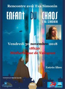 Vendredi 30 novembre 2018 - rencontre avec Eva Simonin - Affiche